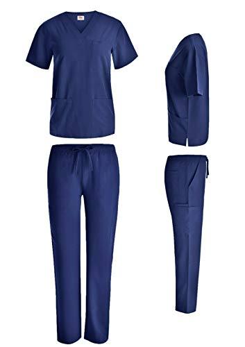 Unisex Scrub Set - 7 Pocket Polycotton Blend Medical Nursing Uniform V-Neck Top w/Cargo Pant Scrub Set (3XL, Navy)