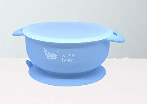 WhaleMom Bowl cuenco de silicona con ventosa tapa y cuchara de Bebés. BLW (Azul)