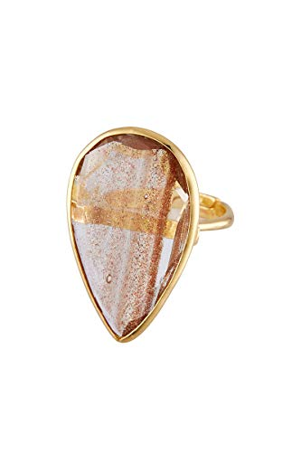 Córdoba Jewels   Sortija en Plata de Ley 925 bañada en Oro con Piedra semipreciosa con diseño Luxury Gota Ámbar Gold