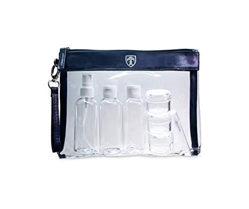 Transparente Kulturtasche mit 7 Flaschen (max.10 oz) – Liduid Travel Set – Transparente Reißverschlusstasche für Kosmetik – Kunststoff PVC Airline Sicherheit Gepäck Organizer Tasche Waschset TRAVANDO