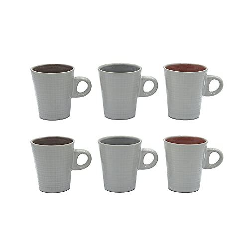 Set de 6 Tazas de Café con Asa, para Espresso y Cortado, de Cerámica y 9cl de Capacidad, Diseño Multicolor y Aptas para Lavavajillas