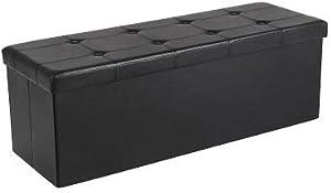 SONGMICS 110 x 38 x 38 cm Grand Pouf Coffre de Rangement Pliable Chargement Max. de 300 kg Noir LSF701