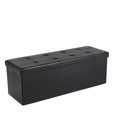SONGMICS 110 x 38 x 38 cm Baúl Puff Taburete para almacenaje Plegable Carga máxima de 300 kg Negro LSF701