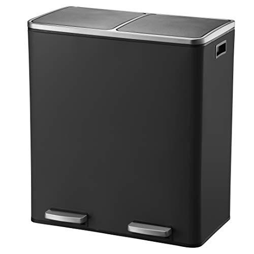 KITCHEN MOVE BAT-961049E Black - Cubo de Basura de Cocina con Pedal de Reciclaje selectivo de Gran Capacidad, 60 L (2 x 30 L), Acero Inoxidable, Color Negro Mate, 60 x 36 x 65 cm