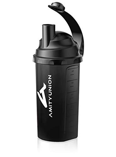 Eiweiß Shaker 800 ml mit Sieb und Skala BPA frei aus Europa - Auslaufsicher für cremige Whey Proteinpulver Shakes und Gym Isolate - Fitness Mixer für BCAA Protein Konzentrate in Classic Schwarz Ultra