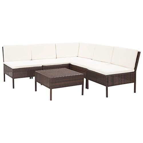 VidaXL Tuinmeubelen, 6-delig, met kussens sofa lounge zitgroep tuinset rotan meubels tuinbank zitmeubelen rotan bruin