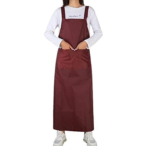 MJAHQ Delantal de cuero suave delantal de carpintero impermeable y a prueba de aceite resistente al desgaste con doble bolsillo para laboratorio de cocina ropa de trabajo-vino tinto_115x75cm