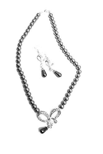 Enez Set Halskette + Ohrringe Perlenkette Hochzeitsschmuck Brautschmuck 45cm R1070z
