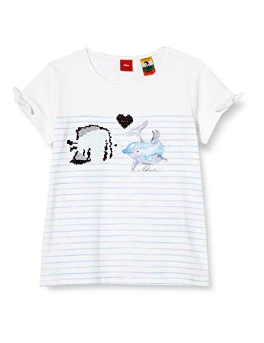 s.Oliver Junior Mädchen 403.10.005.12.130.2038484 T-Shirt, 0100 White, 128/134 REG