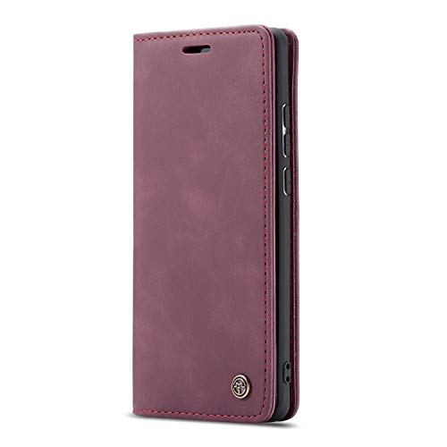 JMstore hülle kompatibel mit Xiaomi Redmi K30 Pro/Poco F2 Pro, Leder Flip Schutzhülle Brieftasche Handyhülle mit Kreditkarten Standfunktion (Rot)