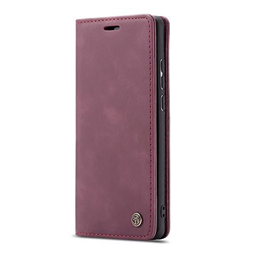 JMstore Funda Compatible con Huawei P20 Lite/Nova 3E, Magnético Carcasa Funda Móvil Billetera Cuero Funda con Tapa Libro Caso Soporte Plegable (Rojo)