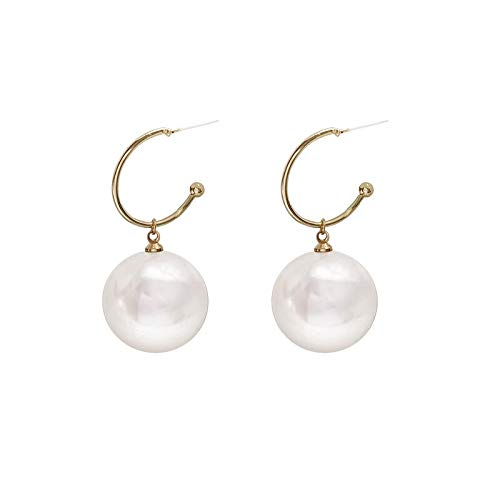Xi-Link S925 Silver Needle Korean Temperament Simple Big Pearl Earrings Personality Exaggerated Senior Girl Earrings (Color : Ear Studs)