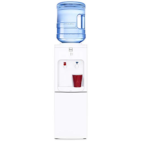 Best Choice Products 5-Gallon Top Loading Hot Cold Water Cooler Dispenser w/ 2 Safety Switches, Storage Cabinet - White