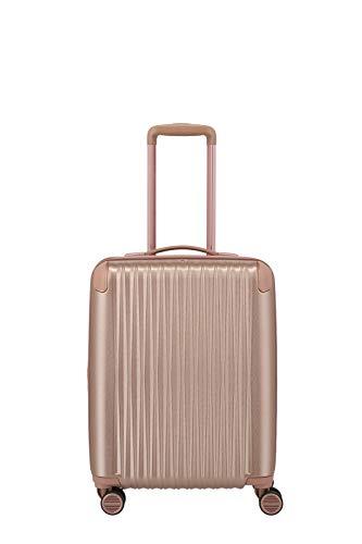 TITAN 4-Rad Handgepäck Koffer mit TSA Schloss + Dehnfalte, Gepäck Serie BARBARA GLINT: Exklusiver Hartschalen Trolley im modischen Design, 845406-15, 55 cm, 39 Liter (erw.), rosé metallic