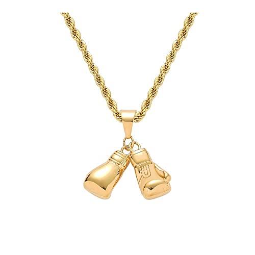 WFS Collares de guantes de moda para hombre, estilo punk y moderno, cadena de moda, colgante de cadena de joyería para hombre o niño, regalo dorado (color dorado)