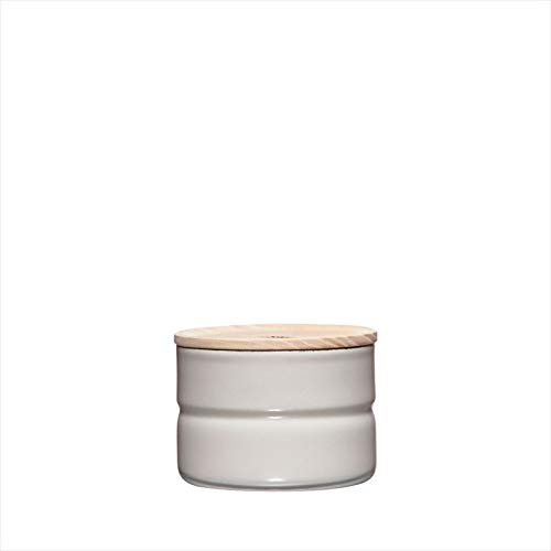 Riess, 2171-211,Vorratsdose mit Eschenholzdeckel, Durchmesser 8 cm, Höhe 6 cm, Inhalt 230 ml, LIGHT GREY, KITCHEN-MANAGEMENT, Truehomeware, Emaille