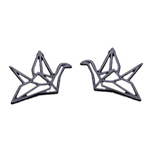 Boburyl Delicada Hueco grúa de Origami Mujeres de los Pendientes de la Vendimia de la Muchacha Linda del pájaro Animal Pendientes de Regalo de los Accesorios