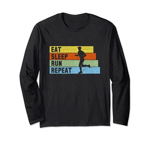 Eat Sleep Run Repeat Outfit Jogger Triatlón Maratón Runner Manga Larga