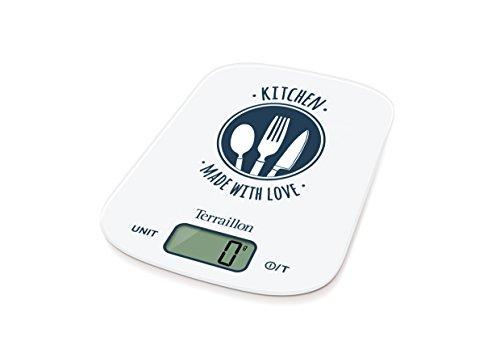 Terraillon Balance de Cuisine - Tare - Conversions Liquides - Poignée Intégrée - Portée 6 kg - Tasty - Blanc