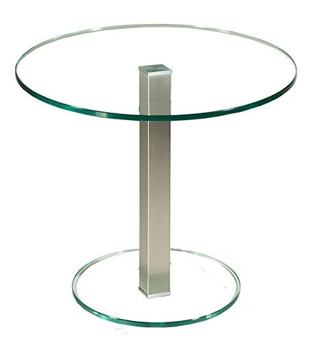 tischdesign24 Perth327 Ecktisch mit 12mm Glasplatte. Stollen in 50x50mm Edelstahl gebürstet und versiegelt Klarglas Größe: 55 x 55 cm Rund Höhe: 50cm