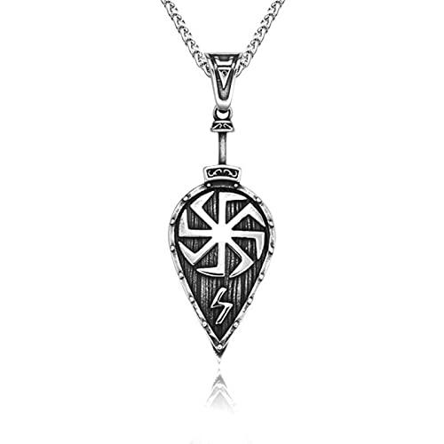 HCMA Collar de Escudo Vikingo Colgante Amuleto eslavo Espada Hacha Escudo Runa Colgante Vikingo Pirata joyería talismán Regalo para Mujeres y Hombres