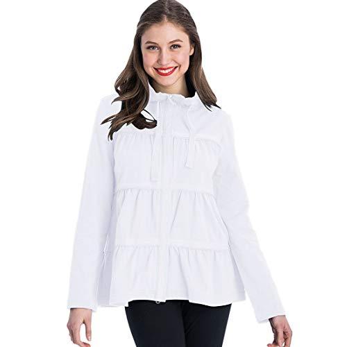Neon Buddha Women's Plus Size Sassy Ruffle Jacket, White, XL