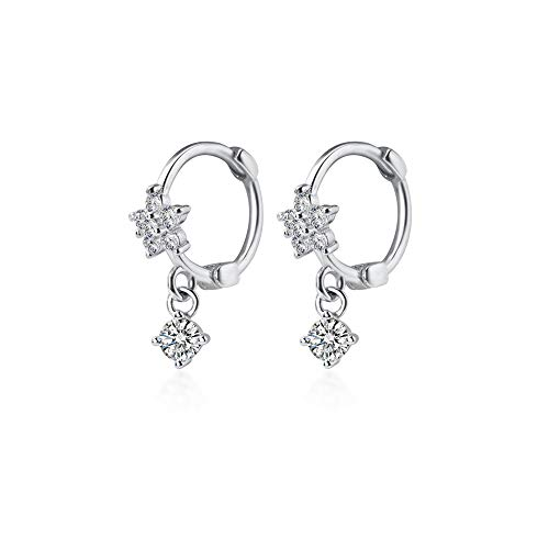 CZ Dangle Drop Huggie Hoop Earrings for Women Teen Girls 925 Sterling Silver Charms Tiny Rhinestone Daisy Flower Hinged Small Cartilage Stud Tragus Dainty Fashion Jewelry Hypoallergenic (Silver)