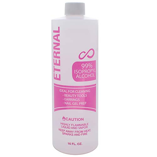 Eternal 99% Isopropyl Alcohol for Beauty Tools, Earrings and Nail Gel Prep (16 FL. OZ.)