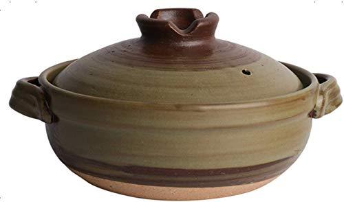 Japanischer Keramik-Hot-Pot-Auflauf, Bank-Steingut-Tontopf, runde Auflaufform, hitzebeständiger Suppentopf, Health Slow Cooker zum Schmoren von Reis A 2.2l