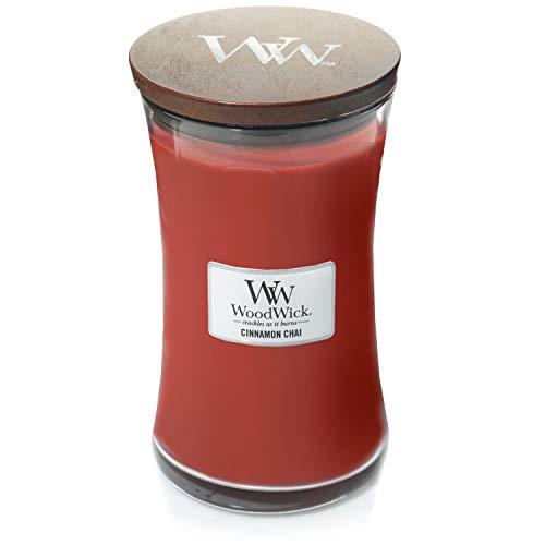 Große WoodWick Duftkerze im Sanduhrglas mit knisterndem Docht, Cinnamon Chai, bis zu 130 Stunden Brenndauer