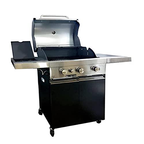 KE GRILL Barbecue a Gas GPL Pietra Lavica 3 Fuochi Fire Dok Inox + Fornello laterale