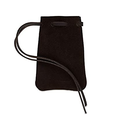 Leather Drawstring Pouch, Coin Bag, Medicine Tobacco Pouch Medieval Reenactment Size 4.75'' x 3'' - Made in U.S.A. by Nabob Leather (Suede Brown, Small)