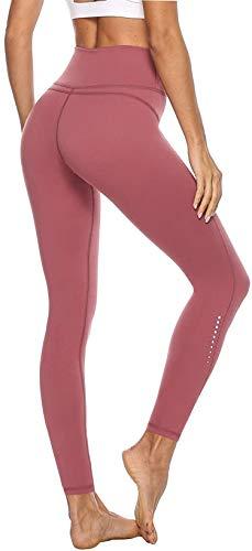 Persit Mallas de Deporte de Mujer, Yoga Leggins Deportivos Mujer Push Up Running Pantalon Deporte Rosa - S