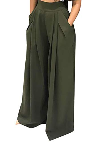 SHINFY Plus Size Wide Leg Pleated Palazzo Pants for Women - Loose Belted High Waist Green