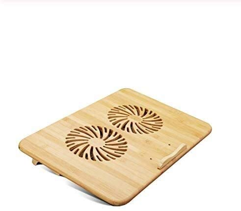 Smisoeq Laptop radiator support base wood radiator with dual-fan cooling pad for Macbook Air Pro Dell Hp (14 inches)