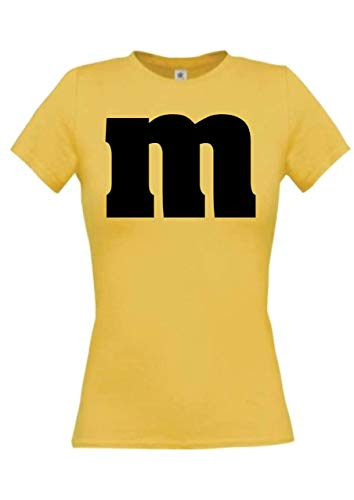 Shirtstown - Camiseta para mujer, para carnaval, grupo M, JGA, pareja, disfraz, tema, fiesta, camiseta, diseño, logotipo, frase amarillo XL