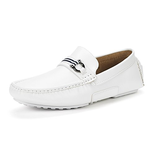 BRUNO MARC NEW YORK Men's Santoni-05 White Pu Penny Loafers Moccasins Shoes Size 15 M US