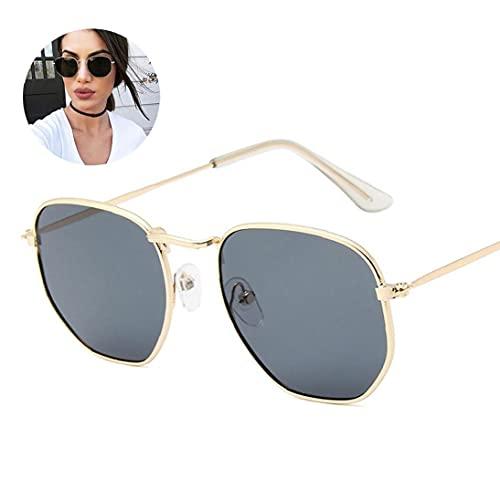 NiceJoy 1 UNID Fley Metal Metal GRAMESA Gafas de Sol polarizadas Polygon Diffectored Lens Protección UV para Hombres y Mujeres (Lente Gris del Marco de Oro)