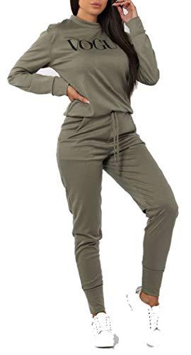 Dam Vogue-tryck 2 delar myskläder träningsoverall damer topp och joggingset storlek S/M-XXL