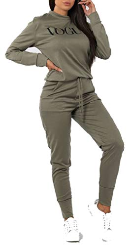 Womens Vogue Print 2 Piece Loungewear Tracksuit Ladies Top and Jogger Set Size S/M-XXL (8-10, Khaki)