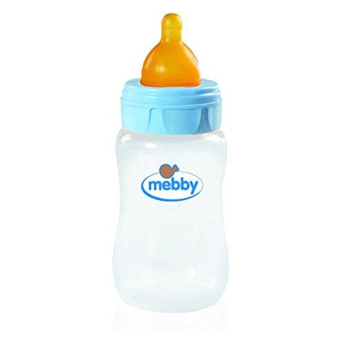 Mebby 92.617 biberón con válvula anti-cólicos y aspiración de látex, 300 ml, azul