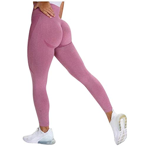 Rickitrty Sexy Butt Lifting Leggings Scrunch High Waist Tummy Control Compression Yoga Leggings Workout Tights for Women Pink