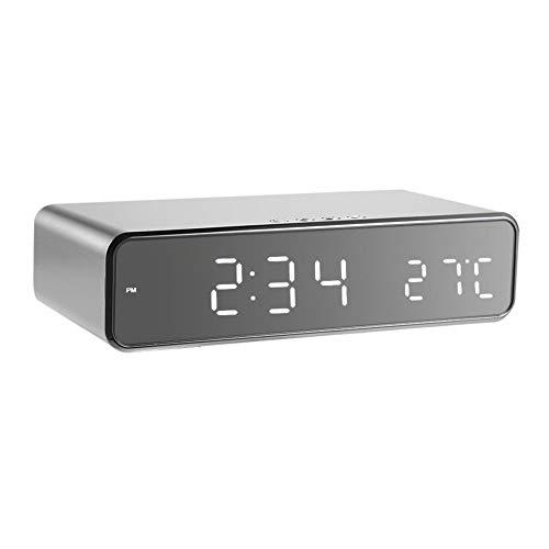 Nanna Despertador del Escritorio del LED con el Cargador inalámbrico Repetir la Alarma Ajustable de Volumen