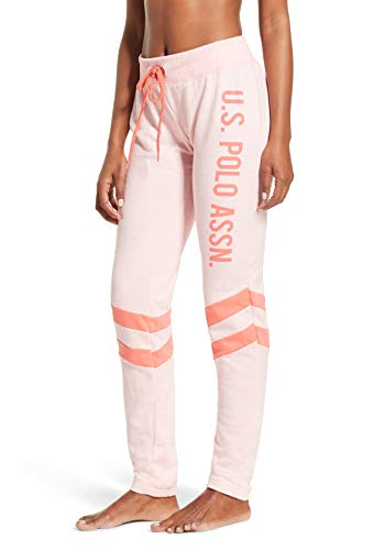 U.S. Polo Assn. Essentials Womens French Terry Double Stripe Jogger Lounge Sleep Sweatpants Pajamas Plus Size Light Pink Heather 1X-Large