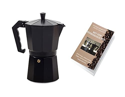 Café Genuss Espressokocher: 9 Tassen, 450 ml. Kaffeekocher, Elektro, Gas, Ceran. + Gratis eBook (Schwarz)