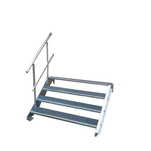 Stahltreppe Industrietreppe Aussentreppe Treppe 4 Stufen-Breite 80cm Variable Geschosshöhe 55-85cm mit einseitigem Geländer