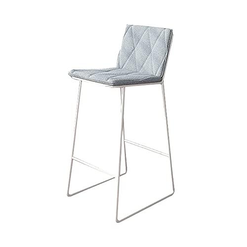 Sgabelli da bar con schienale e poggiapiedi, Seduta imbottita in velluto grigio, Altezza moderna della sedia dello sgabello da bar per la cucina da pranzo della casa del caffè del pub