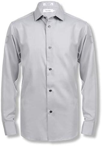 Calvin Klein Boys Little Long Sleeve Sateen Dress Shirt Gray 7 product image