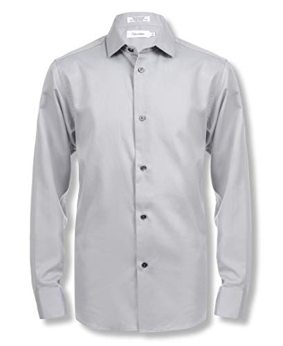 Calvin Klein Boys' Big Long Sleeve Sateen Dress Shirt, Grey, 16
