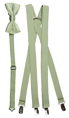 Tuxgear Mens Bow Tie and Suspender Set Combo, Sage, Men's 48 Inch (48' Mens, Sage)